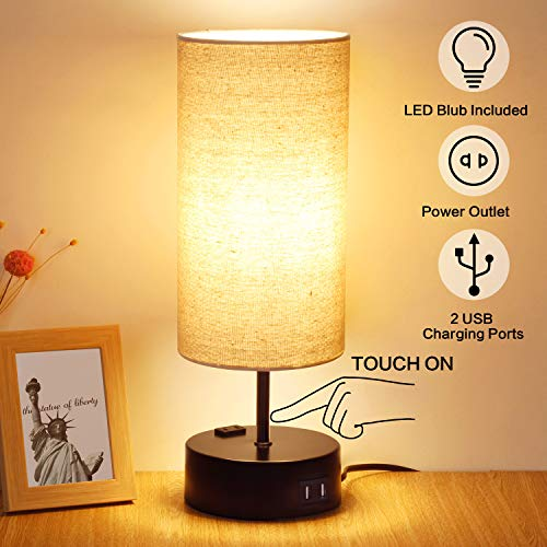 3 Way Dimmable Touch Table Lamp, 2 USB Charging Ports with ...